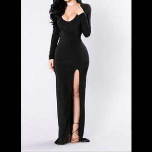 Long sleeve Long Black dress with Slit